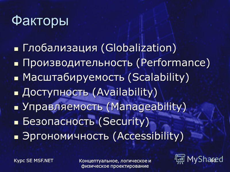 Курс SE MSF.NET Концептуальное, логическое и физическое проектирование 60 Факторы Глобализация (Globalization) Глобализация (Globalization) Производительность (Performance) Производительность (Performance) Масштабируемость (Scalability) Масштабируемо