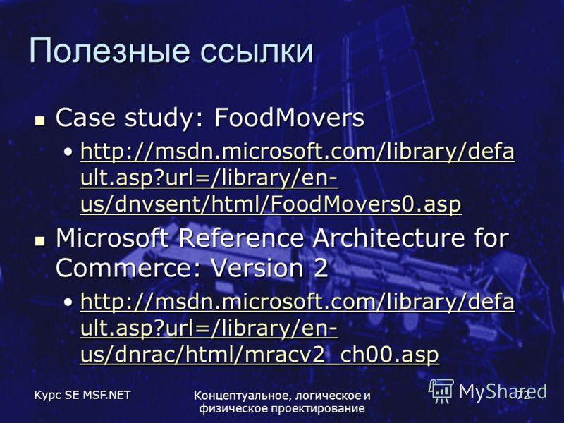 Курс SE MSF.NET Концептуальное, логическое и физическое проектирование 72 Полезные ссылки Case study: FoodMovers Case study: FoodMovers http://msdn.microsoft.com/library/defa ult.asp?url=/library/en- us/dnvsent/html/FoodMovers0.asphttp://msdn.microso