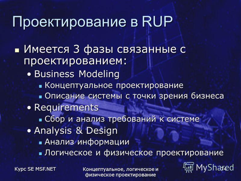 Курс SE MSF.NET Концептуальное, логическое и физическое проектирование 74 Проектирование в RUP Имеется 3 фазы связанные с проектированием: Имеется 3 фазы связанные с проектированием: Business ModelingBusiness Modeling Концептуальное проектирование Ко