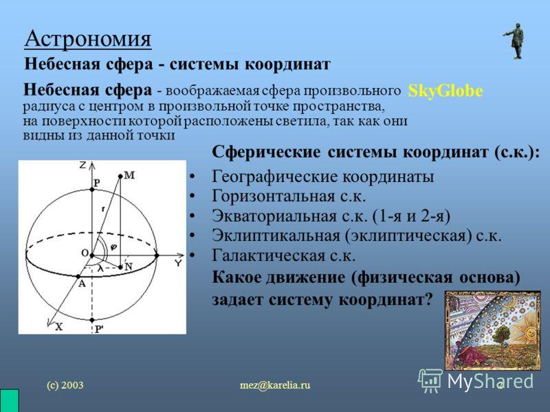 (с) 2003mez@karelia.ru2 Астрономия Небесная сфера - системы координат SkyGlobe Сферические системы координат (с.к.): Географические координаты Горизонтальная с.к. Экваториальная с.к. (1-я и 2-я) Эклиптикальная (эклиптическая) с.к. Галактическая с.к.