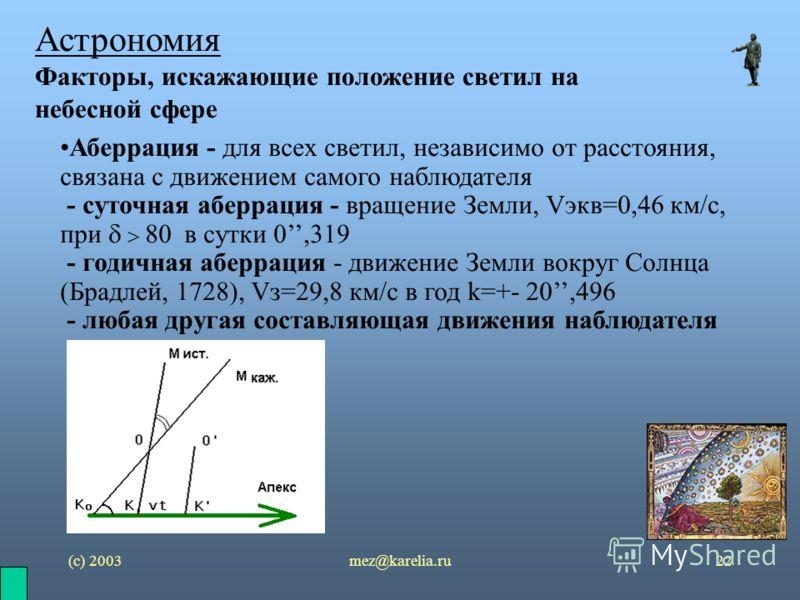(с) 2003mez@karelia.ru22 Астрономия Факторы, искажающие положение светил на небесной сфере Аберрация - для всех светил, независимо от расстояния, связана с движением самого наблюдателя - суточная аберрация - вращение Земли, Vэкв=0,46 км/с, при 80 в с