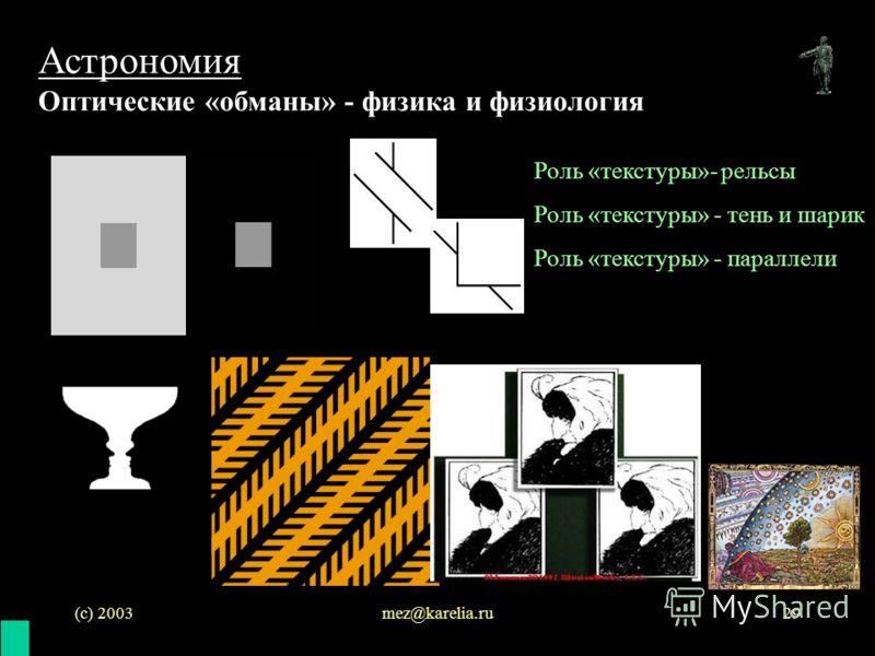 (с) 2003mez@karelia.ru29 Астрономия Оптические «обманы» - физика и физиология Роль «текстуры»- рельсы Роль «текстуры» - тень и шарик Роль «текстуры» - параллели