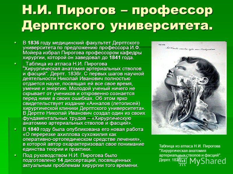 Н.И. Пирогов – профессор Дерптского университета. В 1836 году медицинский факультет Дерптского университета по предложению профессора И.Ф. Мойера избрал Пирогова профессором кафедры хирургии, которой он заведовал до 1841 года. В 1836 году медицинский