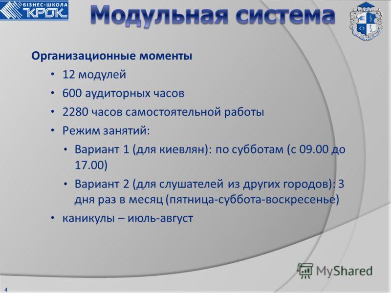 4 Организационные моменты 12 модулей 600 аудиторных часов 2280 часов самостоятельной работы Режим занятий: Вариант 1 (для киевлян): по субботам (с 09.00 до 17.00) Вариант 2 (для слушателей из других городов): 3 дня раз в месяц (пятница-суббота-воскре