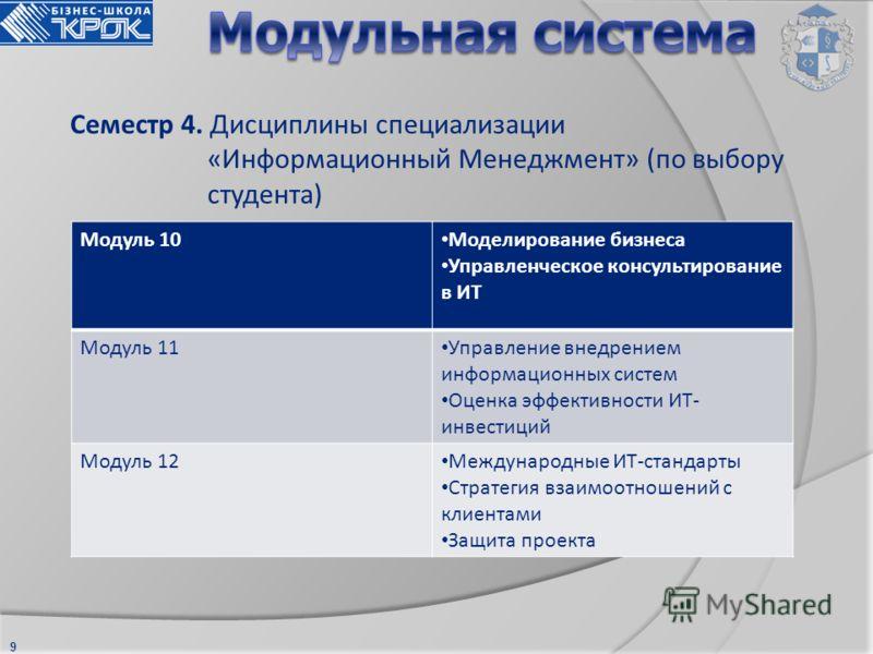 9 Семестр 4. Дисциплины специализации «Информационный Менеджмент» (по выбору студента) Модуль 10 Моделирование бизнеса Управленческое консультирование в ИТ Модуль 11 Управление внедрением информационных систем Оценка эффективности ИТ- инвестиций Моду