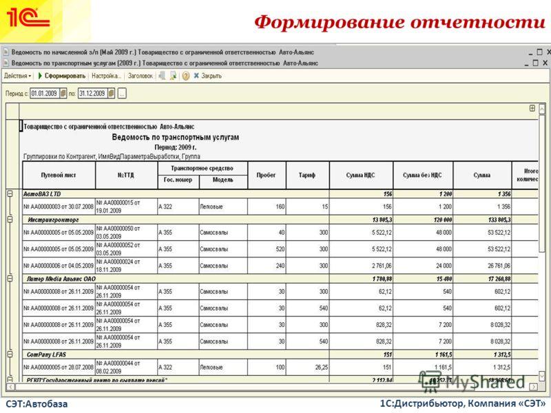 СЭТ:Автобаза 1С:Дистрибьютор, Компания «СЭТ» Формирование отчетности