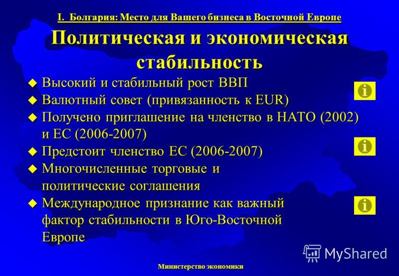Министерство экономики Министерство экономики Высокий и стабильный рост ВВП Высокий и стабильный рост ВВП Валютный совет (привязанность к EUR) Валютный совет (привязанность к EUR) Получено приглашение на членство в НАТО (2002) и ЕС (2006-2007) Получе