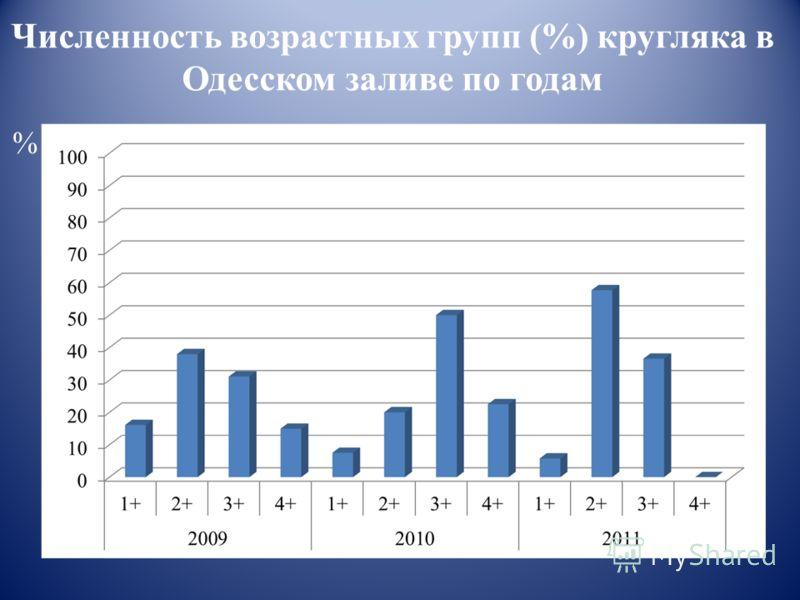 % Численность возрастных групп (%) кругляка в Одесском заливе по годам