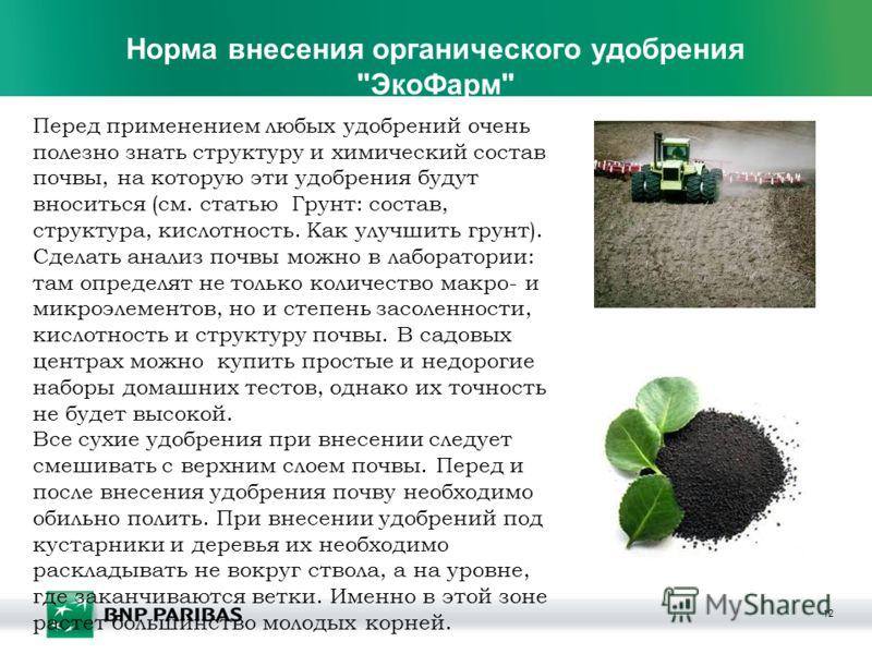 12 Норма внесения органического удобрения