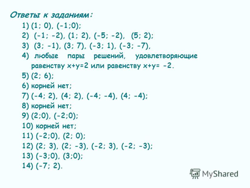 Ответы к заданиям: 1)(1; 0), (-1;0); 2) (-1; -2), (1; 2), (-5; -2), (5; 2); 3) (3; -1), (3; 7), (-3; 1), (-3; -7), 4) любые пары решений, удовлетворяющие равенству х+у=2 или равенству х+у= -2. 5)(2; 6); 6)корней нет; 7)(-4; 2), (4; 2), (-4; -4), (4;