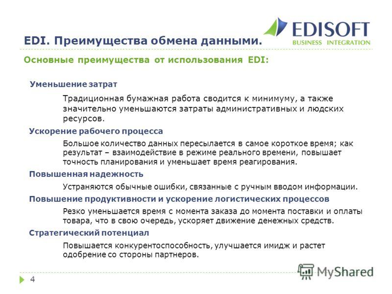 EDI. Преимущества обмена данными. 4 Основные преимущества от использования EDI: Уменьшение затрат Традиционная бумажная работа сводится к минимуму, а также значительно уменьшаются затраты административных и людских ресурсов. Ускорение рабочего процес