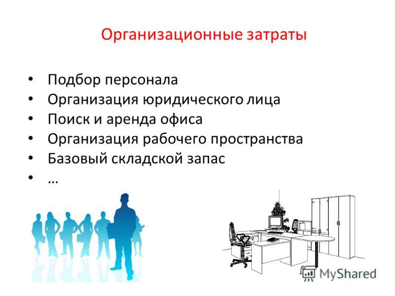 Организационные затраты Подбор персонала Организация юридического лица Поиск и аренда офиса Организация рабочего пространства Базовый складской запас …
