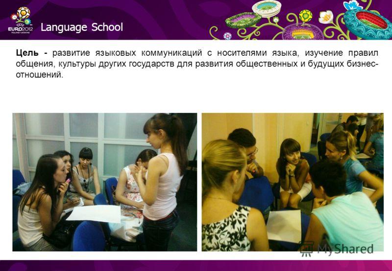 Language School Цель - развитие языковых коммуникаций с носителями языка, изучение правил общения, культуры других государств для развития общественных и будущих бизнес- отношений.