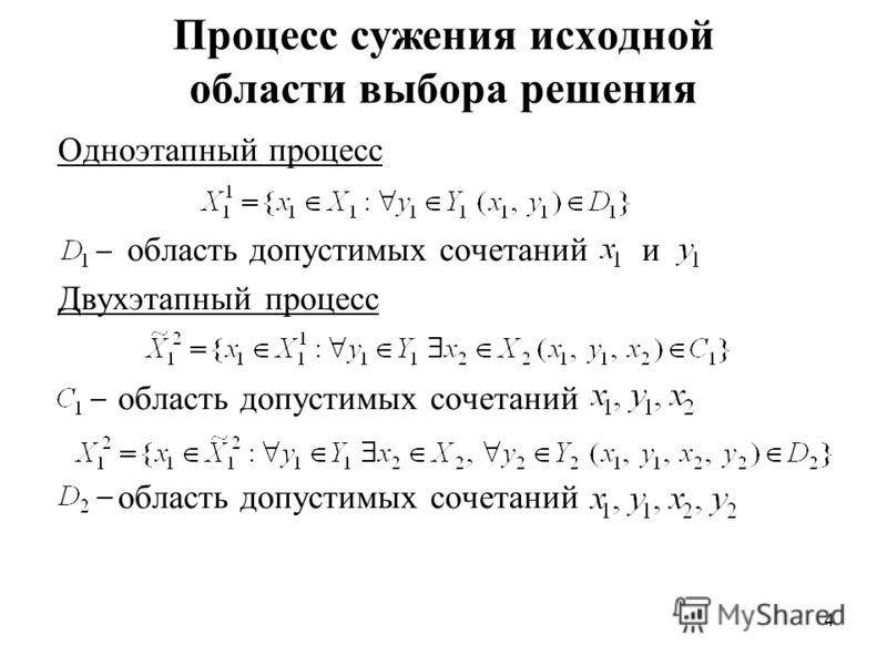 4 Процесс сужения исходной области выбора решения Одноэтапный процесс область допустимых сочетаний и Двухэтапный процесс область допустимых сочетаний