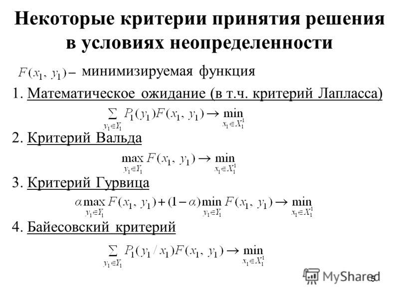 5 Некоторые критерии принятия решения в условиях неопределенности минимизируемая функция 1. Математическое ожидание (в т.ч. критерий Лапласса) 2. Критерий Вальда 3. Критерий Гурвица 4. Байесовский критерий