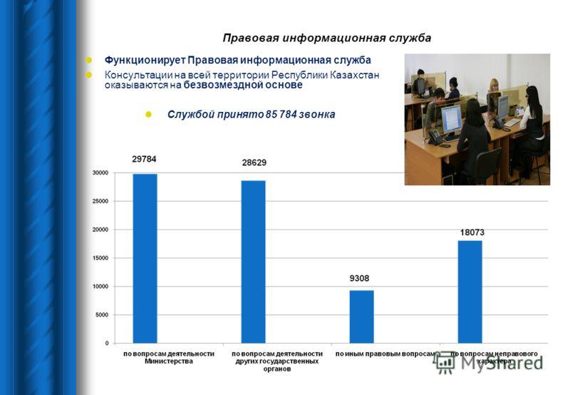 Правовая информационная служба Функционирует Правовая информационная служба Консультации на всей территории Республики Казахстан оказываются на безвозмездной основе Службой принято 85 784 звонка