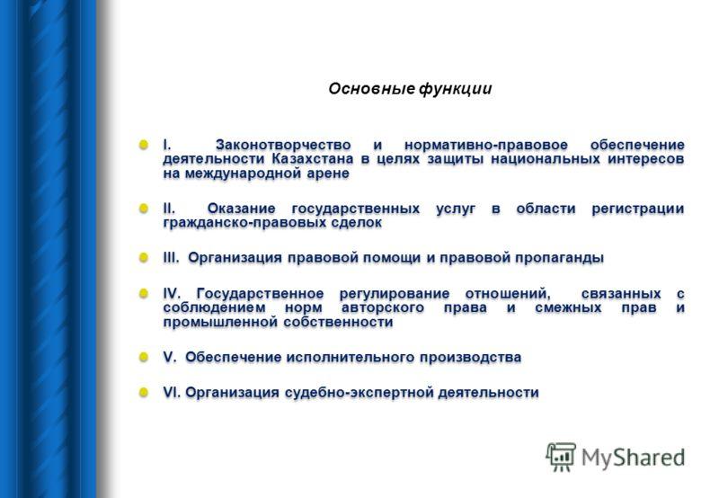 Основные функции I. Законотворчество и нормативно-правовое обеспечение деятельности Казахстана в целях защиты национальных интересов на международной арене II. Оказание государственных услуг в области регистрации гражданско-правовых сделок III. Орган