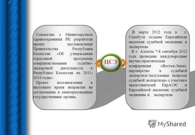 Совместно с Министерством здравоохранения РК разработан проект постановления Правительства Республики Казахстан «Об утверждении отраслевой программы совершенствования судебно- экспертной деятельности в Республике Казахстан на 2013- 2018 годы». Проект