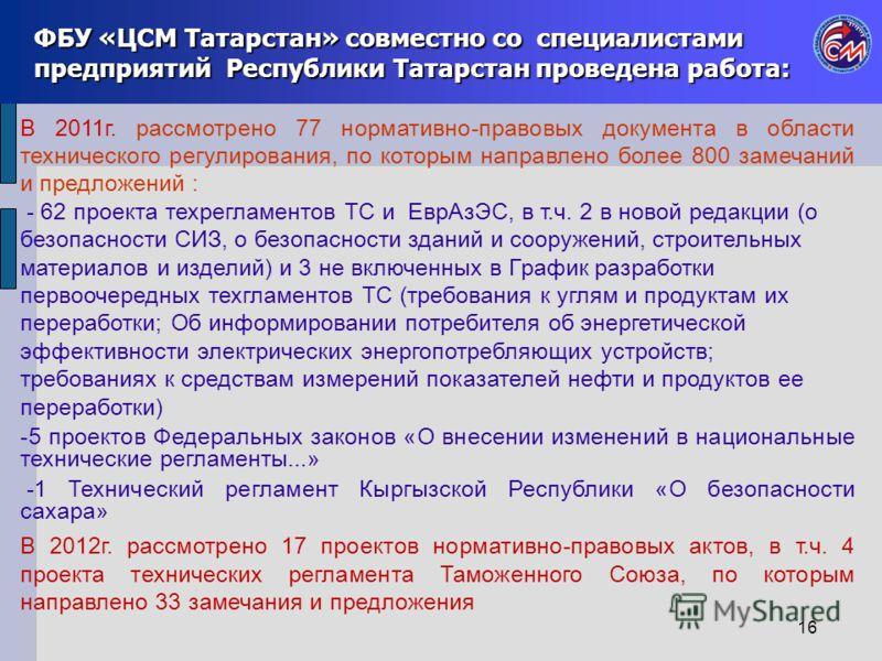 ФБУ «ЦСМ Татарстан» совместно со специалистами предприятий Республики Татарстан проведена работа: В 2011г. рассмотрено 77 нормативно-правовых документа в области технического регулирования, по которым направлено более 800 замечаний и предложений : -
