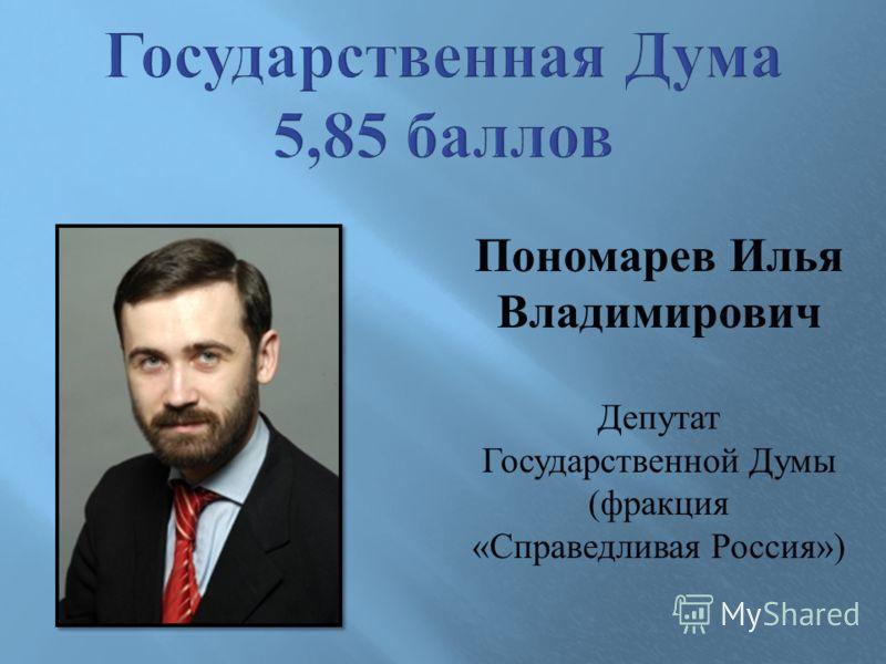 Пономарев Илья Владимирович Депутат Государственной Думы ( фракция « Справедливая Россия »)