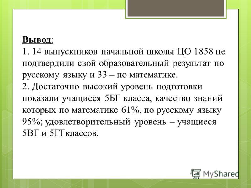 Вывод: 1. 14 выпускников начальной школы ЦО 1858 не подтвердили свой образовательный результат по русскому языку и 33 – по математике. 2. Достаточно высокий уровень подготовки показали учащиеся 5БГ класса, качество знаний которых по математике 61%, п