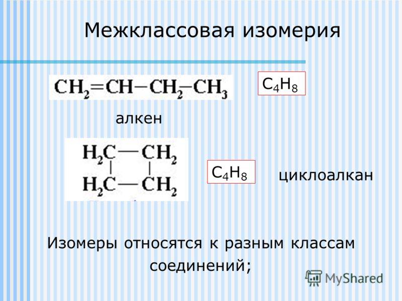 Межклассовая изомерия Изомеры относятся к разным классам соединений; С4Н8С4Н8 С4Н8С4Н8 алкен циклоалкан