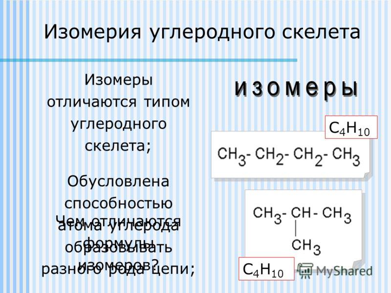 Обусловлена способностью атома углерода образовывать разного рода цепи; Чем отличаются формулы изомеров? Изомерия углеродного скелета Изомеры отличаются типом углеродного скелета; С 4 Н 10