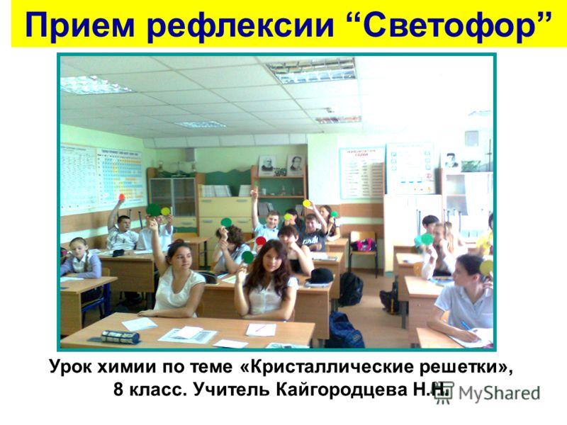 Урок химии по теме «Кристаллические решетки», 8 класс. Учитель Кайгородцева Н.Н. Прием рефлексии Светофор