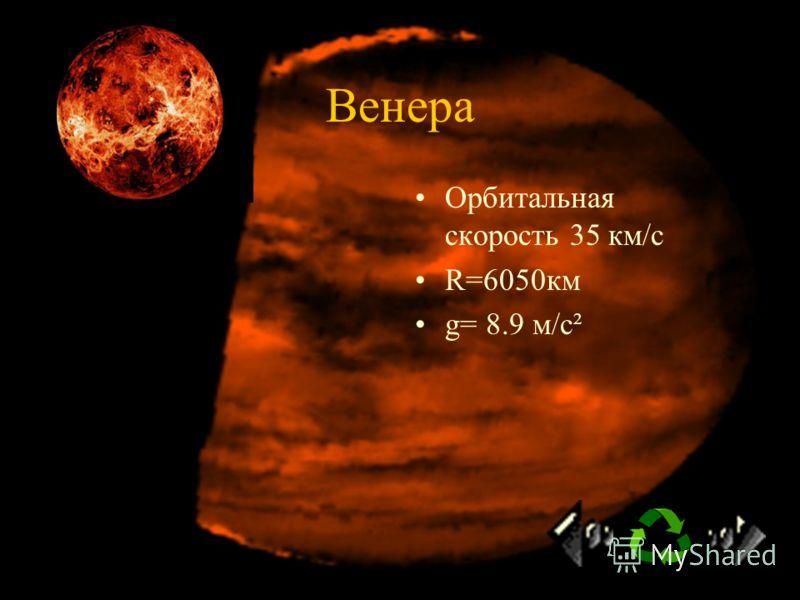 Меркурий Орбитальная скорость 47.9 км/с R=2440 км g= 3.7м/с²