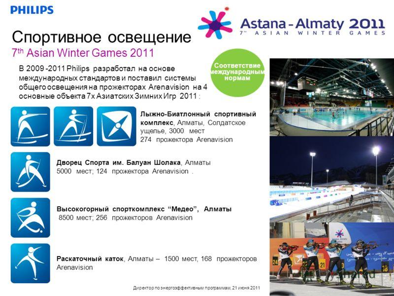 Директор по энергоэффективным программам, 21 июня 2011 Спортивное освещение 7 th Asian Winter Games 2011 Раскаточный каток, Алматы – 1500 мест, 168 прожекторов Arenavision В 2009 -2011 Philips разработал на основе международных стандартов и поставил