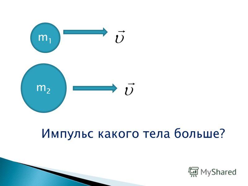 m1m1 m2m2 Импульс какого тела больше?