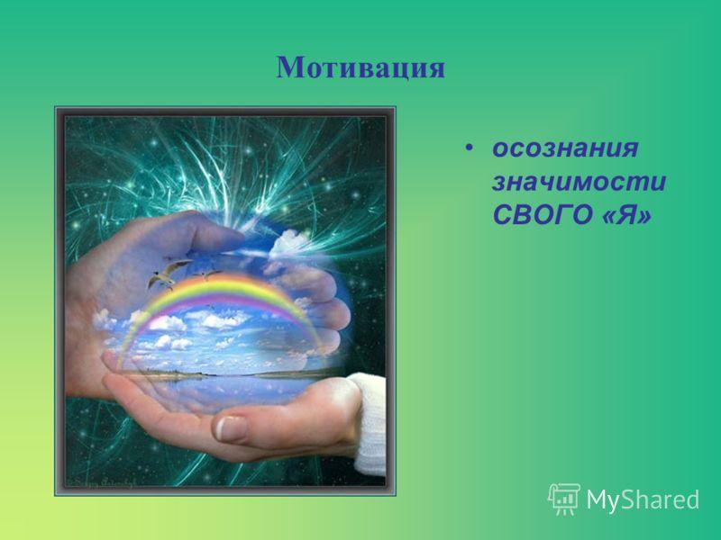 Мотивация осознания значимости СВОГО «Я»