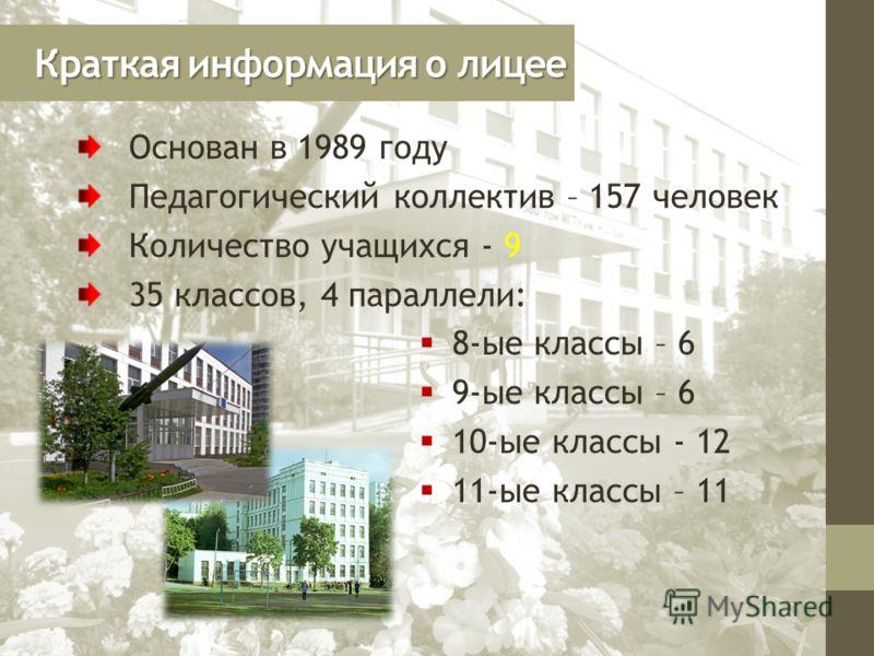 Краткая информация о лицее Основан в 1989 году Педагогический коллектив – 157 человек Количество учащихся - 9 35 классов, 4 параллели: 8-ые классы – 6 9-ые классы – 6 10-ые классы - 12 11-ые классы – 11