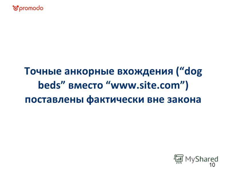 Точные анкорные вхождения (dog beds вместо www.site.com) поставлены фактически вне закона 10