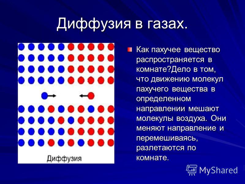 Диффузия в газах. Как пахучее вещество распространяется в комнате?Дело в том, что движению молекул пахучего вещества в определенном направлении мешают молекулы воздуха. Они меняют направление и перемешиваясь, разлетаются по комнате.