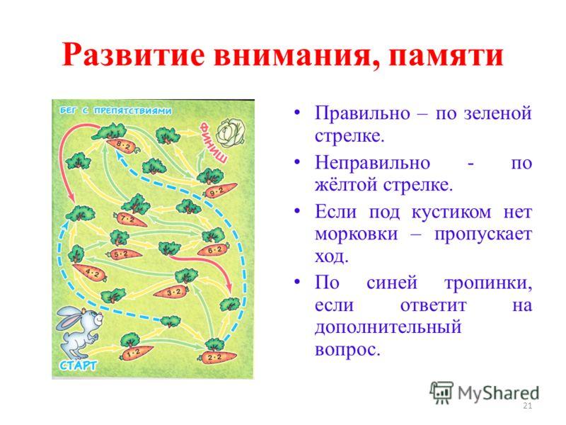 Развитие внимания, памяти Правильно – по зеленой стрелке. Неправильно - по жёлтой стрелке. Если под кустиком нет морковки – пропускает ход. По синей тропинки, если ответит на дополнительный вопрос. 21