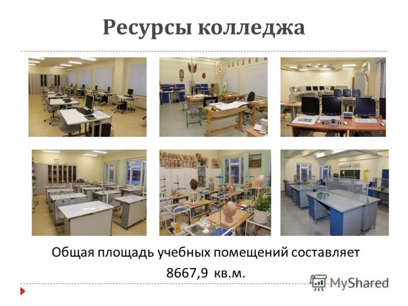Ресурсы колледжа Общая площадь учебных помещений составляет 8667,9 кв. м.
