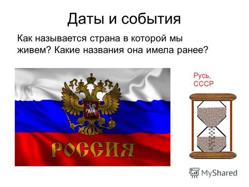 Даты и события Русь, СССР Как называется страна в которой мы живем? Какие названия она имела ранее?