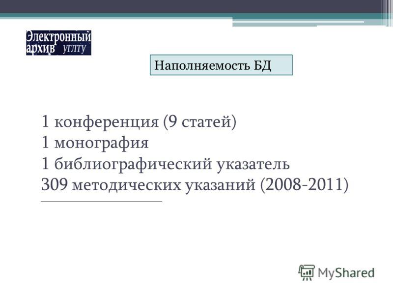 1 конференция (9 статей) 1 монография 1 библиографический указатель 309 методических указаний (2008-2011) _____________________________________ Наполняемость БД