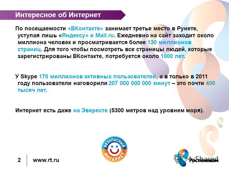 www.rt.ru Интересное об Интернет По посещаемости «ВКонтакте» занимает третье место в Рунете, уступая лишь «Яндексу» и Mail.ru. Ежедневно на сайт заходит около миллиона человек и просматривается более 130 миллионов страниц. Для того чтобы посмотреть в