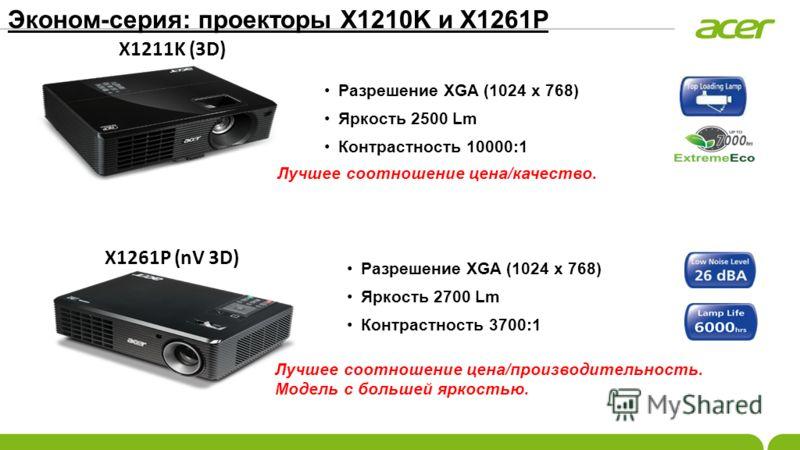 Эконом-серия: проекторы X1210K и X1261P Разрешение XGA (1024 x 768) Яркость 2500 Lm Контрастность 10000:1 Разрешение XGA (1024 x 768) Яркость 2700 Lm Контрастность 3700:1 Лучшее соотношение цена/качество. X1211K (3D) X1261P (nV 3D) Лучшее соотношение