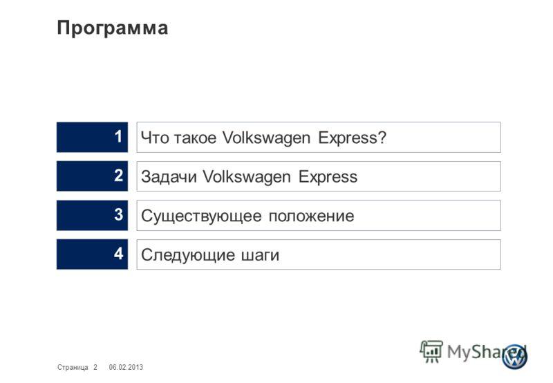 Программа 06.02.2013Страница 2 Следующие шаги 4 Существующее положение 3 Задачи Volkswagen Express 2 Что такое Volkswagen Express? 1