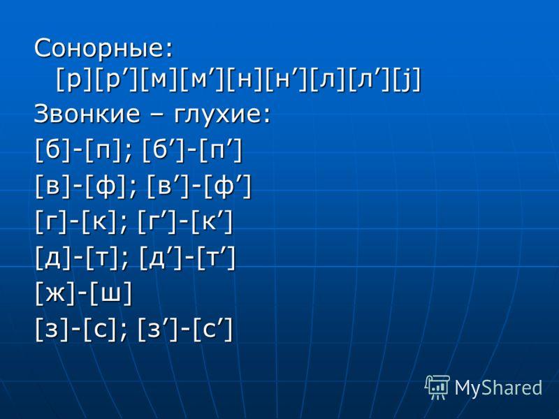 Сонорные: [р][р][м][м][н][н][л][л][j] Звонкие – глухие: [б]-[п]; [б]-[п] [в]-[ф]; [в]-[ф] [г]-[к]; [г]-[к] [д]-[т]; [д]-[т] [ж]-[ш][ж]-[ш][ж]-[ш][ж]-[ш] [з]-[с]; [з]-[с]