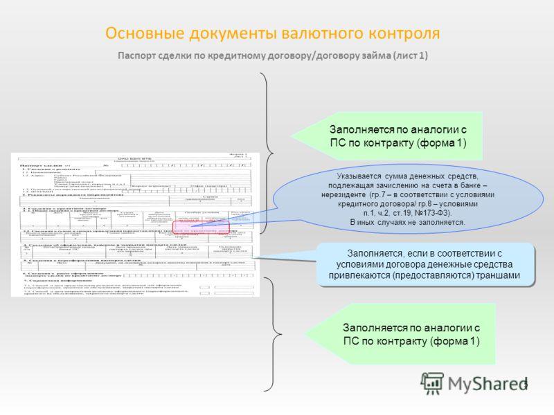 Паспорт сделки по кредитному договору/договору займа (лист 1) 5 Основные документы валютного контроля Заполняется по аналогии с ПС по контракту (форма 1) Заполняется по аналогии с ПС по контракту (форма 1) Заполняется, если в соответствии с условиями