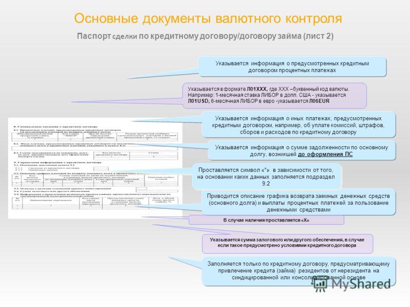 6 Основные документы валютного контроля Паспорт сделки по кредитному договору/договору займа (лист 2) Указывается информация о предусмотренных кредитным договором процентных платежах Указывается в формате Л01ХХХ, где ХХХ –буквенный код валюты. Наприм