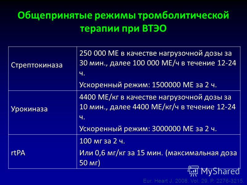 Стрептокиназа 250 000 МЕ в качестве нагрузочной дозы за 30 мин., далее 100 000 МЕ/ч в течение 12-24 ч. Ускоренный режим: 1500000 МЕ за 2 ч. Урокиназа 4400 МЕ/кг в качестве нагрузочной дозы за 10 мин., далее 4400 МЕ/кг/ч в течение 12-24 ч. Ускоренный
