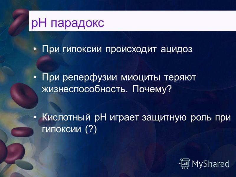рН парадокс При гипоксии происходит ацидоз При реперфузии миоциты теряют жизнеспособность. Почему? Кислотный рН играет защитную роль при гипоксии (?)