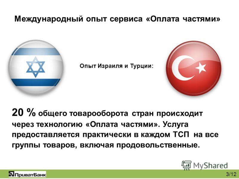 Международный опыт сервиса «Оплата частями» 3/12 Опыт Израиля и Турции: 20 % общего товарооборота стран происходит через технологию «Оплата частями». Услуга предоставляется практически в каждом ТСП на все группы товаров, включая продовольственные.