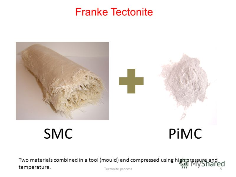 Tectonite process5 Two materials combined in a tool (mould) and compressed using high pressure and temperature. SMC PiMC Franke Tectonite