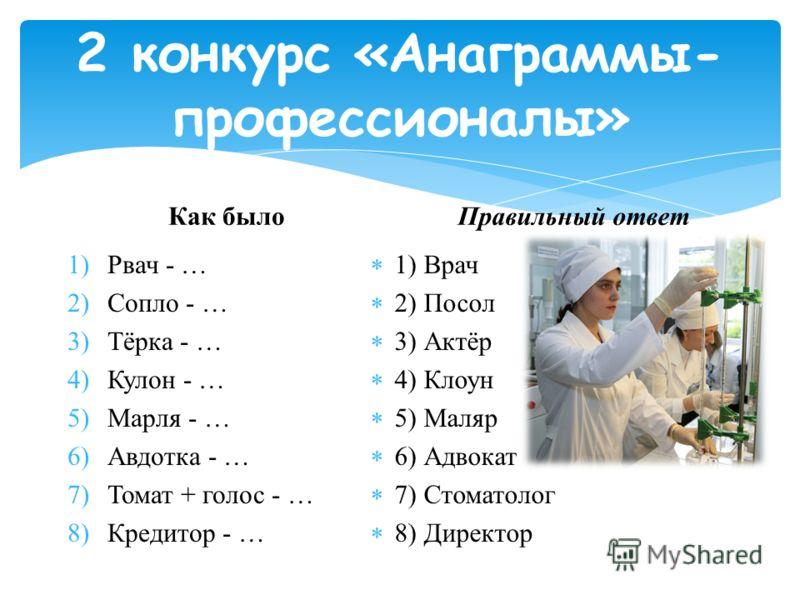 Как было 1)Рвач - … 2)Сопло - … 3)Тёрка - … 4)Кулон - … 5)Марля - … 6)Авдотка - … 7)Томат + голос - … 8)Кредитор - … Правильный ответ 1) Врач 2) Посол 3) Актёр 4) Клоун 5) Маляр 6) Адвокат 7) Стоматолог 8) Директор